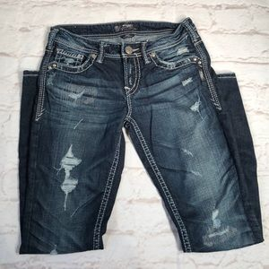 Silver Jeans. Aiko Baby Boot. Size 27. Distressed